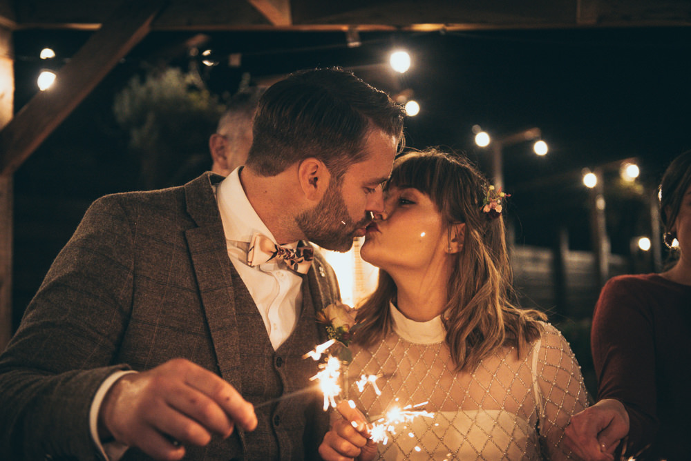 Sparkler Send Off Sparklers Exit Fron Farm Yurt Retreat Wedding Cat Arwel Photography