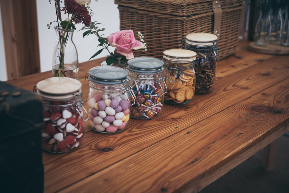 Sweets Sweetie Table Jars Fron Farm Yurt Retreat Wedding Cat Arwel Photography