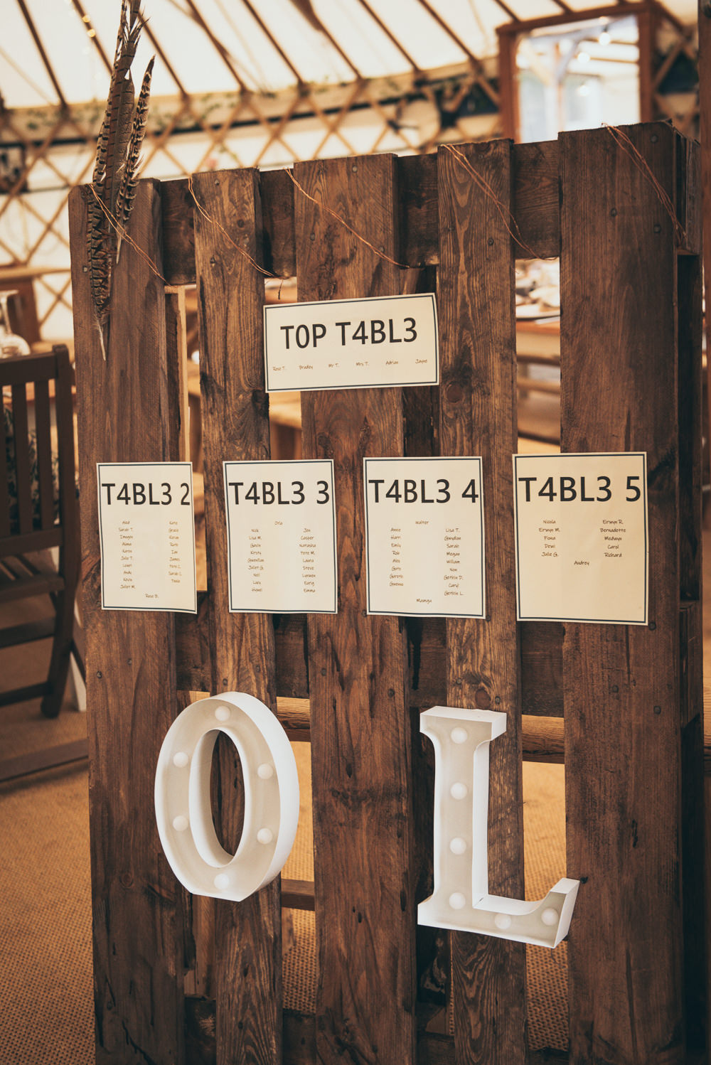 Table Plan Seating Chart Wooden Pallet Fron Farm Yurt Retreat Wedding Cat Arwel Photography