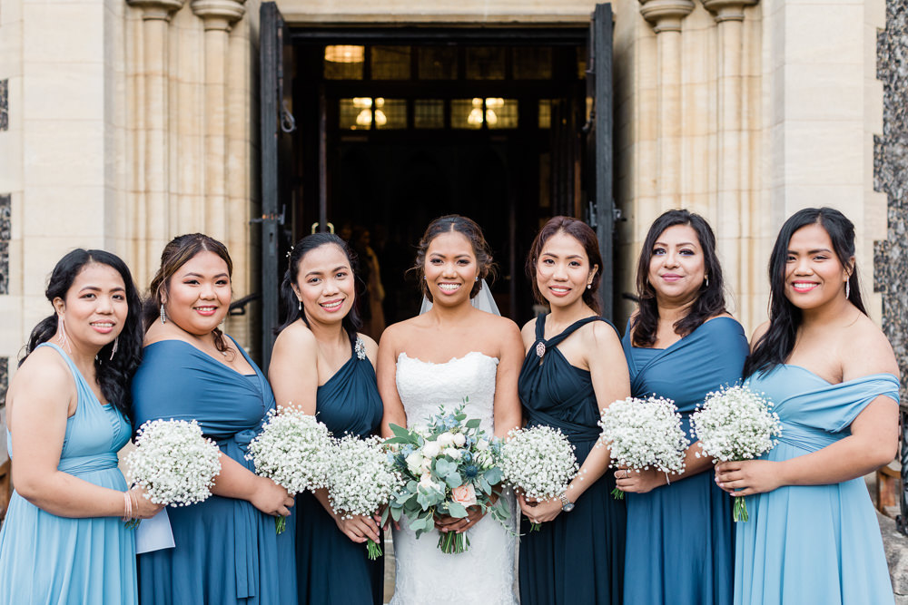 Bridesmaids Bridesmaid Dress Dresses Blue Gypsophila Bouquets Gate Street Barn Wedding Camilla J Hards