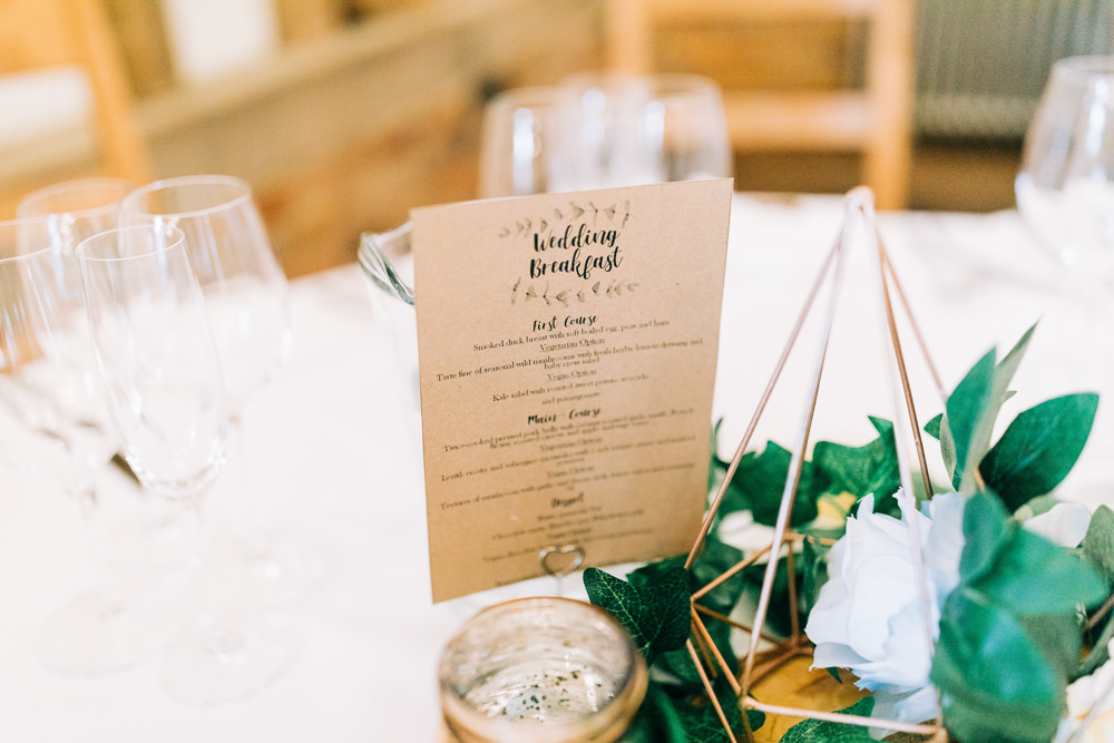 Menu Stationery Gate Street Barn Wedding Camilla J Hards