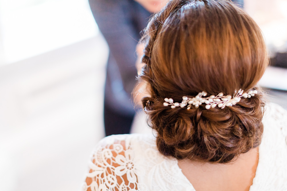 Bride Bridal Hair Style Up Do Accessory Gate Street Barn Wedding Camilla J Hards