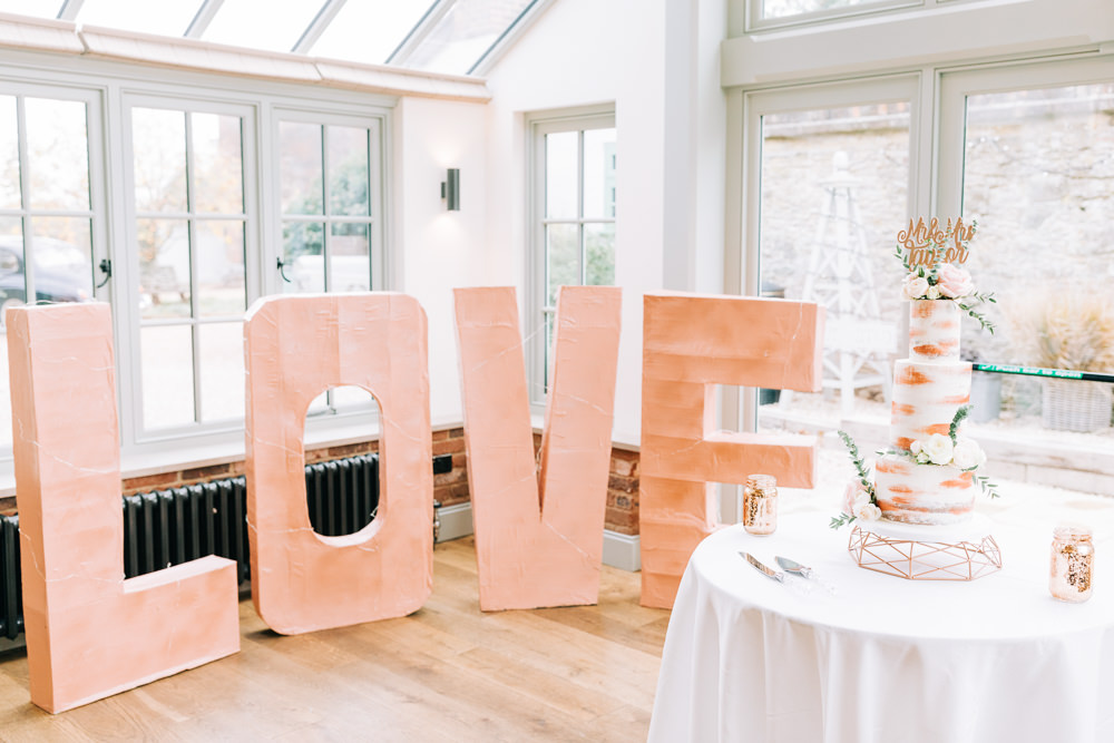 Wooden Love Letters Gate Street Barn Wedding Camilla J Hards