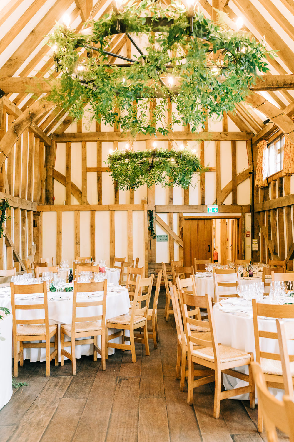 Greenery Foliage Chandeliers Gate Street Barn Wedding Camilla J Hards