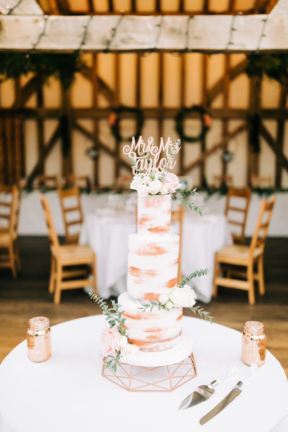Tall Semi Naked Cake Wooden Laser Cut Topper Sponge Layer Flowers Gate Street Barn Wedding Camilla J Hards