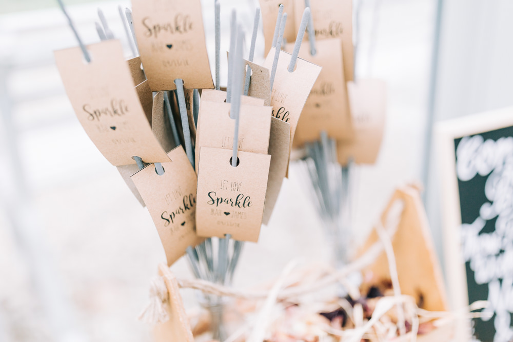 Sparklers Personalised Gate Street Barn Wedding Camilla J Hards