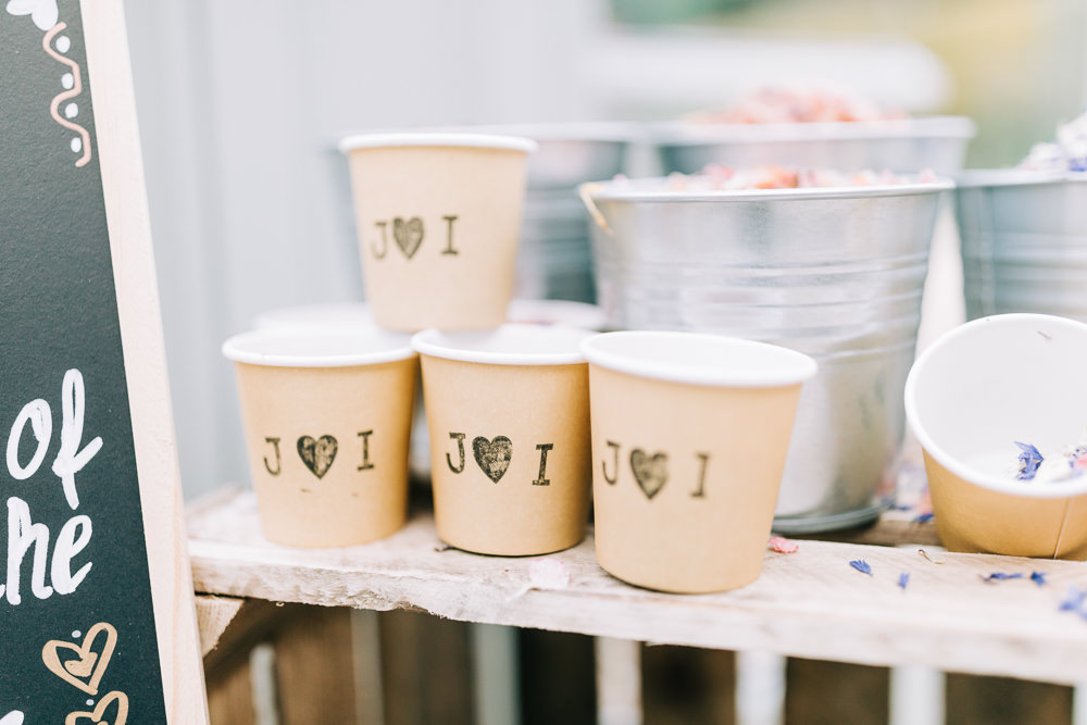 Confetti Bar Buckets Cups Paper Gate Street Barn Wedding Camilla J Hards