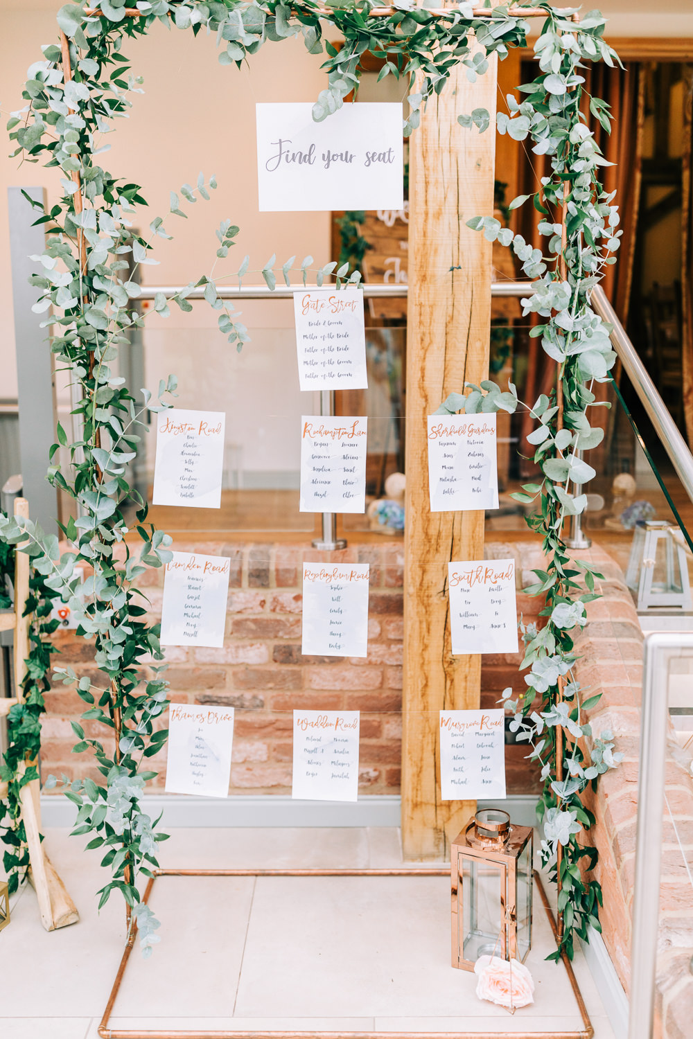 Table Plan Seating Chart Copper Pipe Eucalyptus Greenery Foliage Gate Street Barn Wedding Camilla J Hards