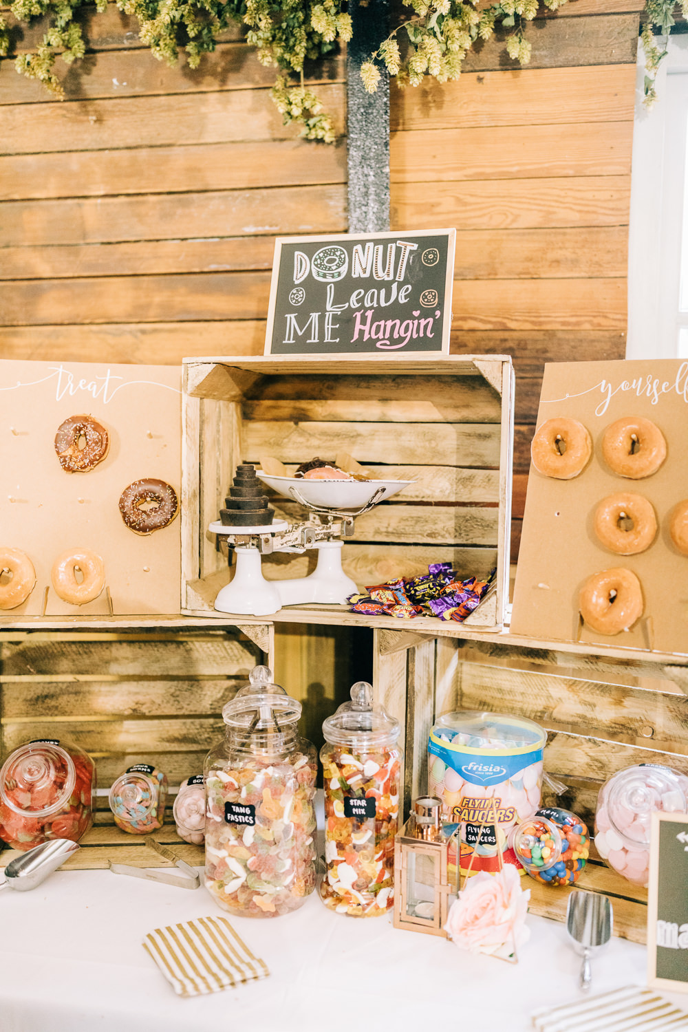 Sweets Sweetie Bar Stand Station Donuts Doughnuts Gate Street Barn Wedding Camilla J Hards