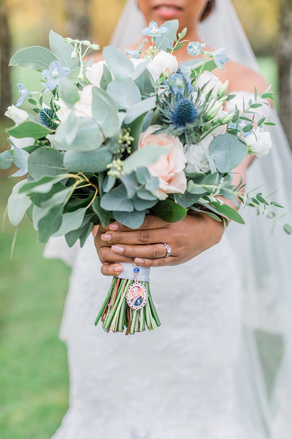 Bouquet Flowers Bride Bridal Eucalyptus Rose Thistle Gate Street Barn Wedding Camilla J Hards