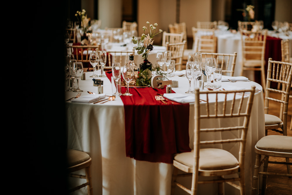 Table Flowers Centrepiece Red Burgundy Runner Table Cloth Industrial Homemade Wedding M and G Photographic