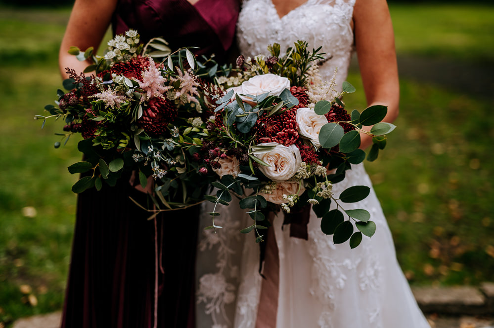 Bouquet Flowers Bride Bridal Bridesmaid Ribbons Garden Rose Burgundy Chrysanthemums Pink Purple Astilbe Eucalyptus Olive Myrtle Industrial Homemade Wedding M and G Photographic
