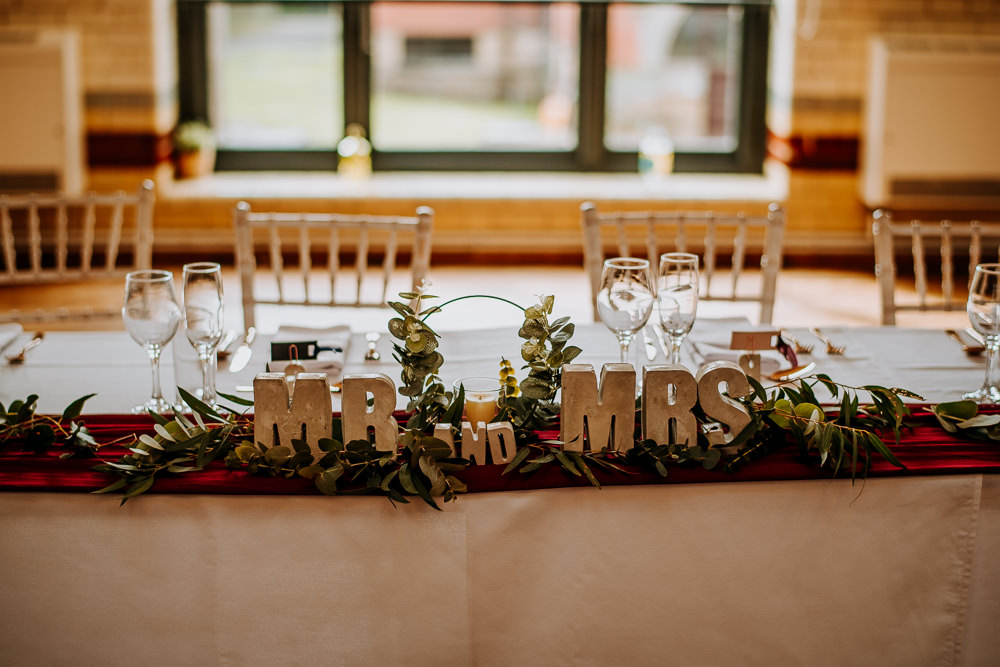 Concrete Letters Top Table Greenery Foliage Industrial Homemade Wedding M and G Photographic