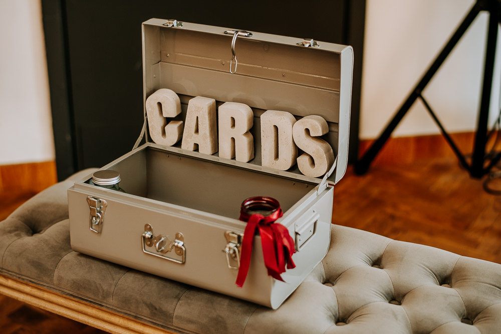 Card Box Suitcase Gifts Industrial Homemade Wedding M and G Photographic