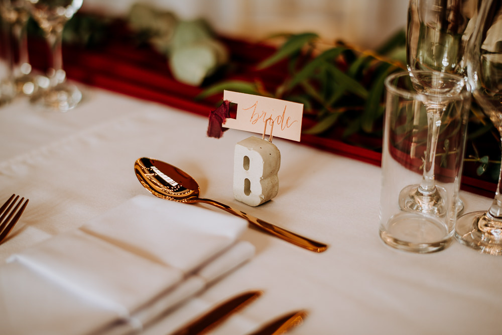 Concrete Place Name Letters Copper Cutlery Place Name Cards Tassels Industrial Homemade Wedding M and G Photographic