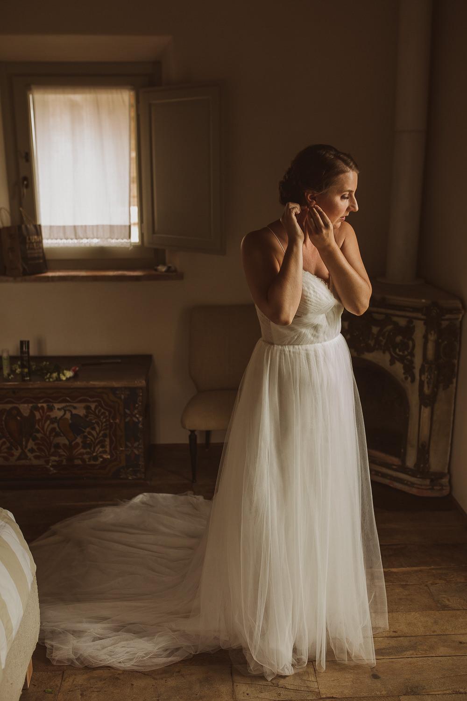 Bride Dress Gown Straps Tulle Train Italy Villa Wedding The Springles