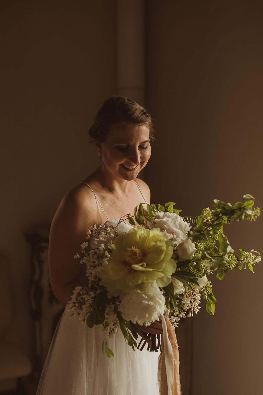 Bride Bridal Bouquet Flowers White Peony Peonies Greenery Foliage Ribbons Italy Villa Wedding The Springles