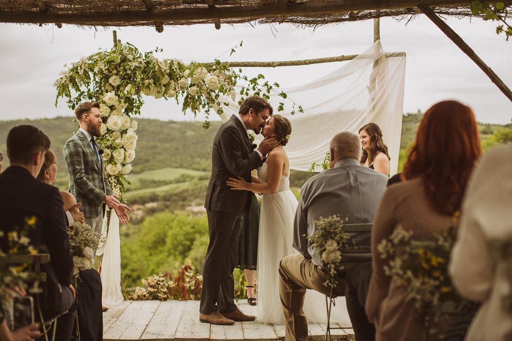 Outdoor Ceremony Backdrop Flower Arch Greenery Fabric Drapes Italy Villa Wedding The Springles