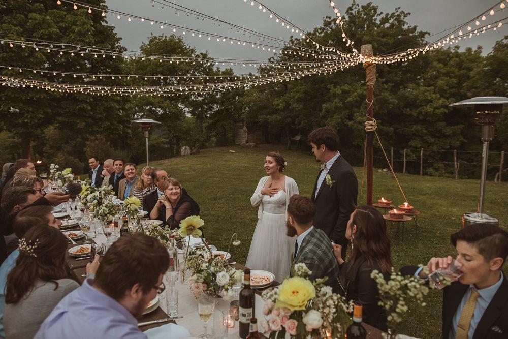 Outdoor Reception Meal Long Tables Festoon Lights Fairy Light Canopy Italy Villa Wedding The Springles