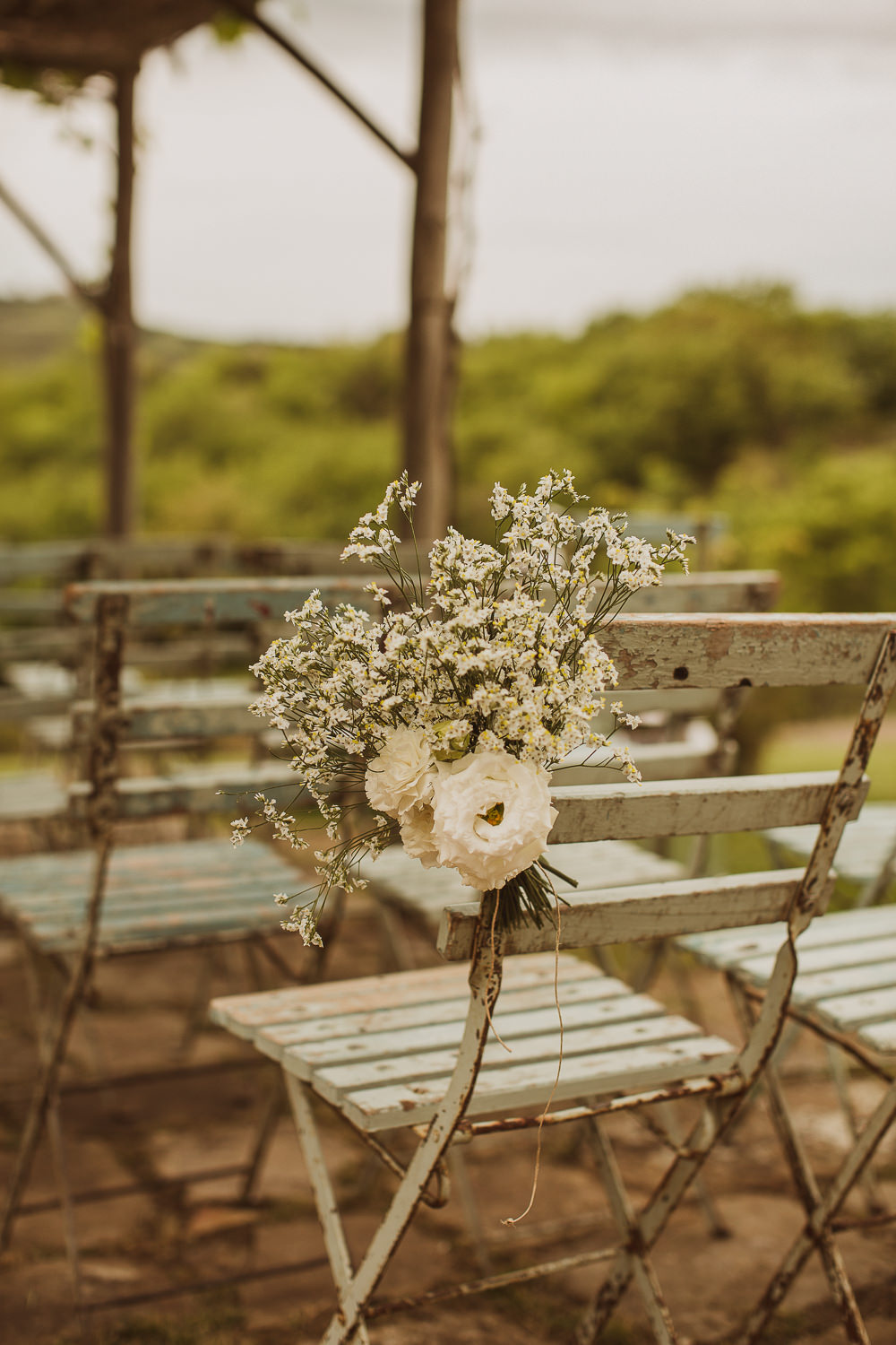 Chair Flowers Aisle Pew End Ceremony Italy Villa Wedding The Springles