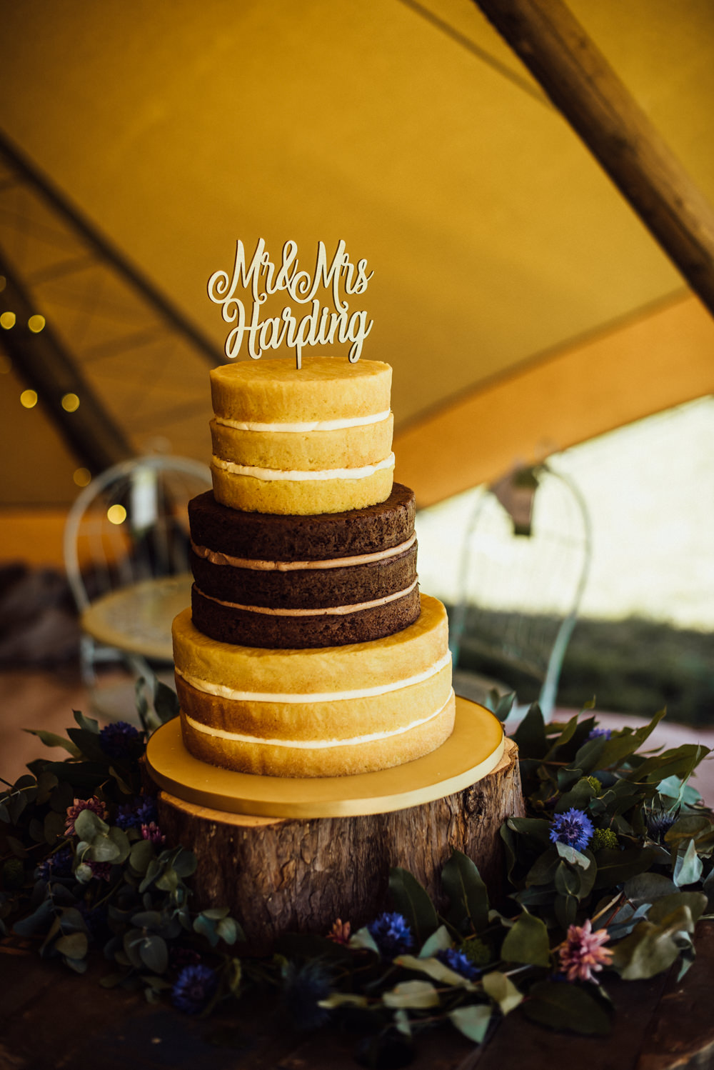 Naked Cake Sponge Layer Log Slice Stand Laser Cut Topper Long Furlong Farm Wedding Michelle Wood Photographer