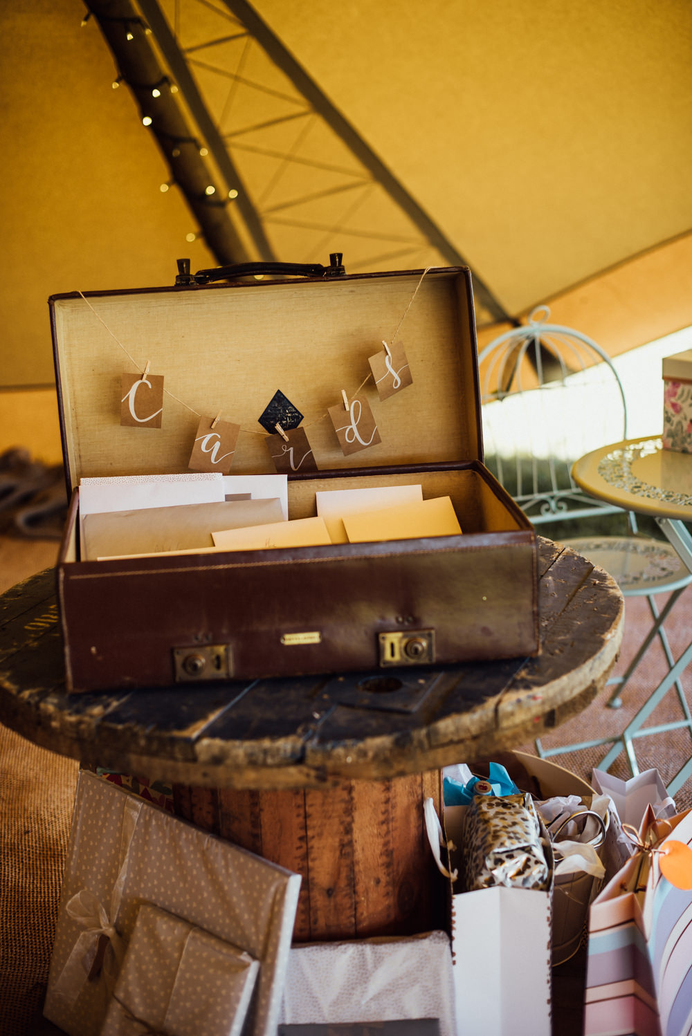Card Suitcase Long Furlong Farm Wedding Michelle Wood Photographer