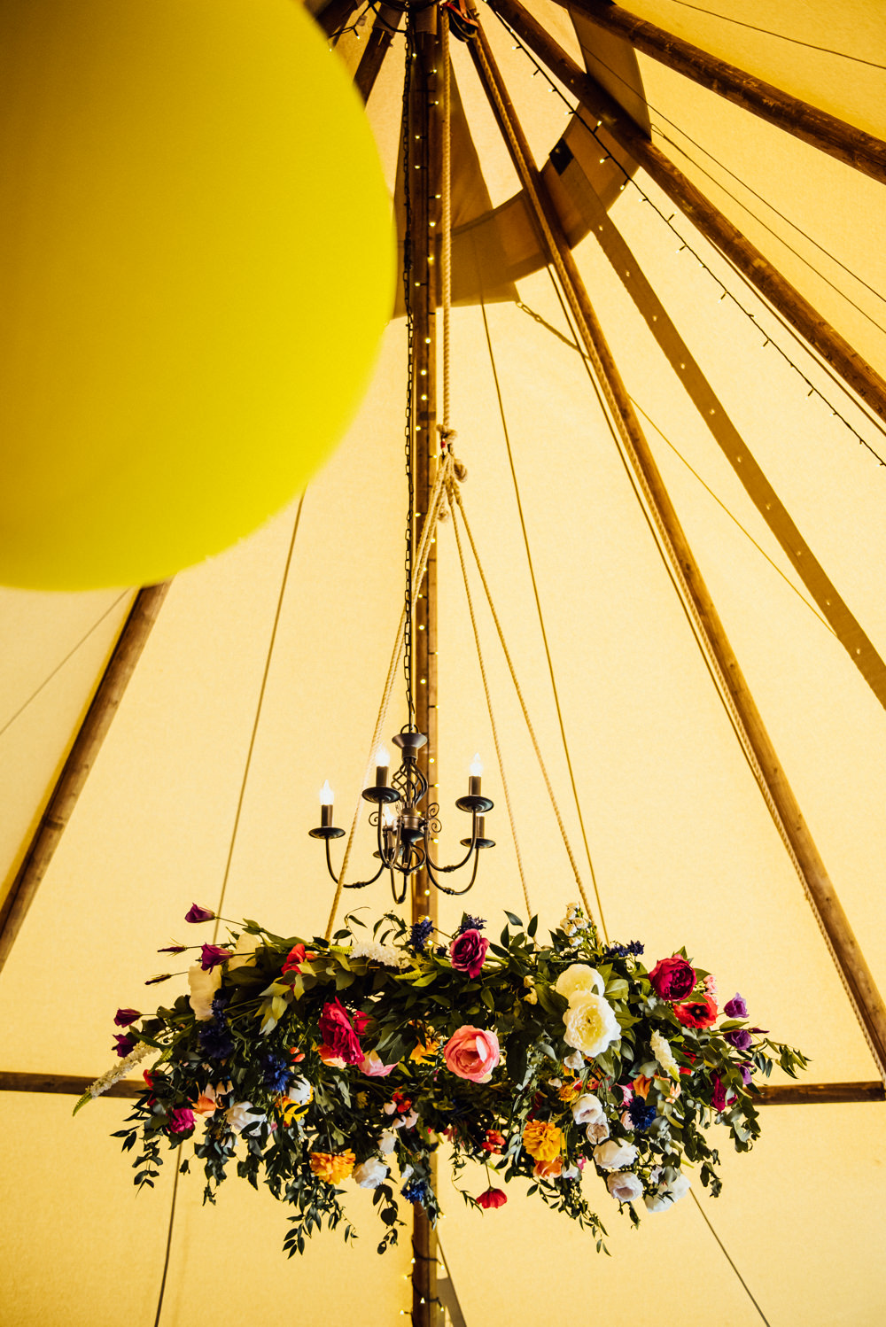 Tipi Flower Chandelier Florals Greenery Hoop Long Furlong Farm Wedding Michelle Wood Photographer