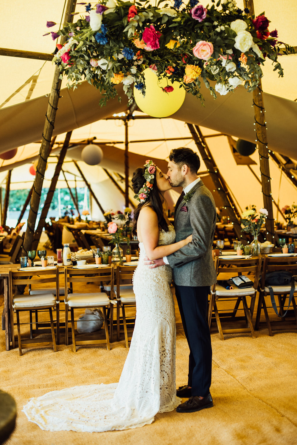 Long Furlong Farm Wedding Michelle Wood Photographer Tipi Flower Chandelier Florals Greenery Hoop