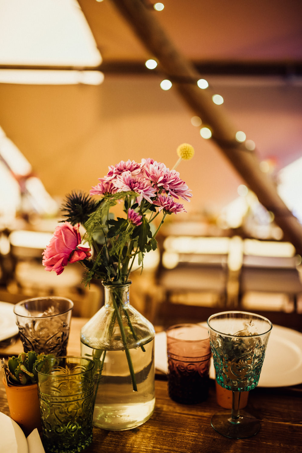 Rustic Wooden Tables Decor Decoration Bottle Flowers Long Furlong Farm Wedding Michelle Wood Photographer