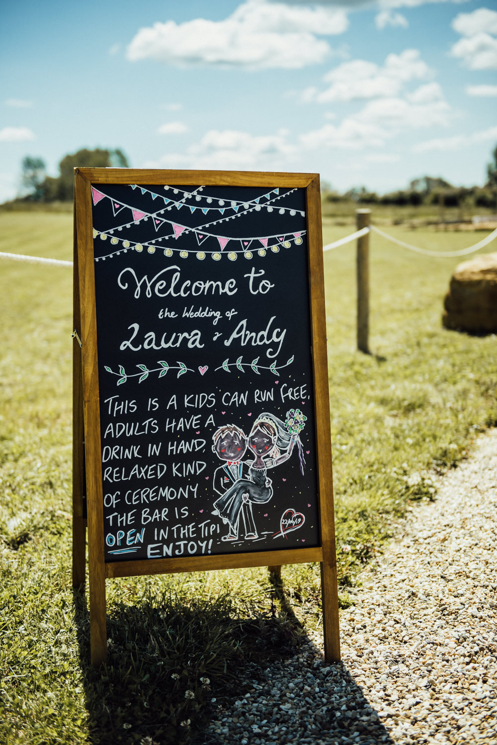 Black Board Chalk Sign Signs Signage Long Furlong Farm Wedding Michelle Wood Photographer