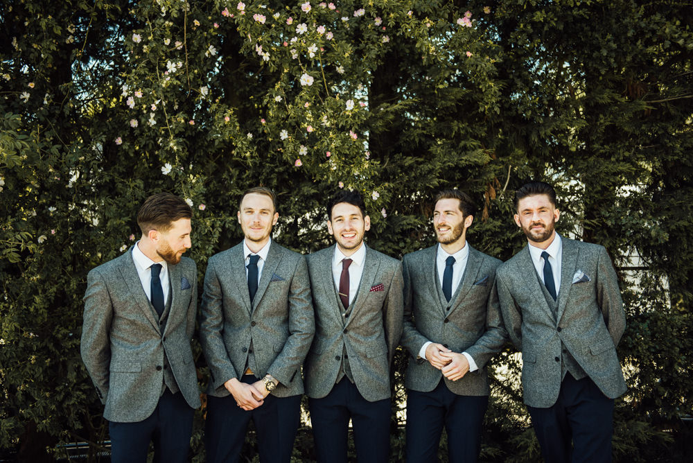 Groom Groomsmen Grey Suits Navy Chinos Burgundy Tie Long Furlong Farm Wedding Michelle Wood Photographer