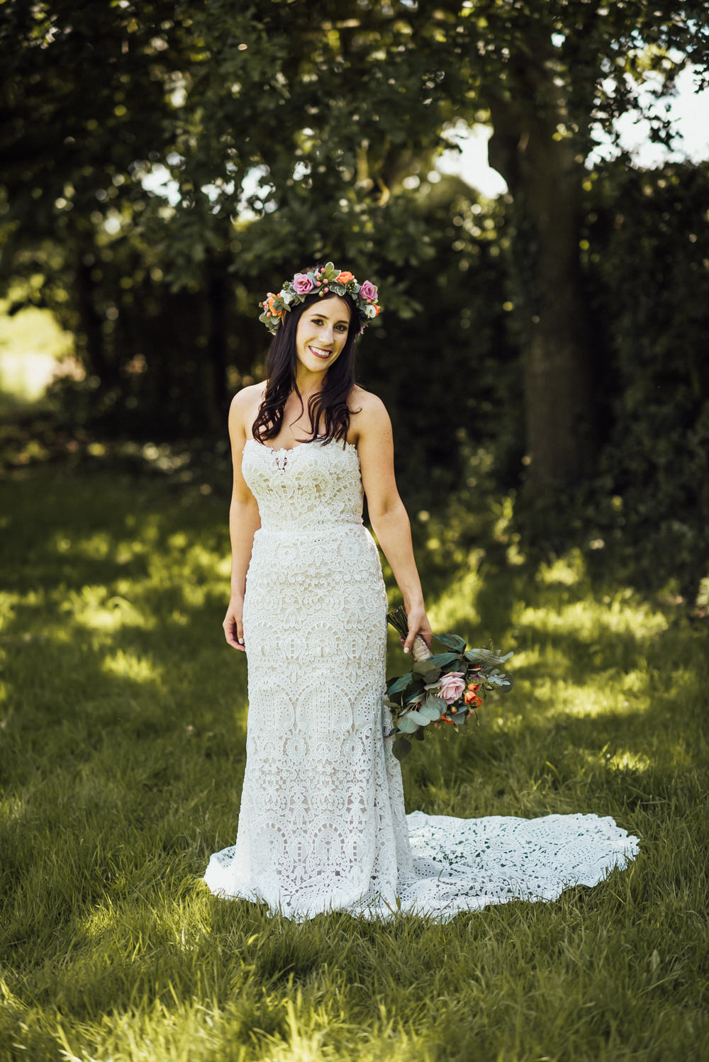 Bride Bridal Dress Gown Lace Strapless Train Long Furlong Farm Wedding Michelle Wood Photographer