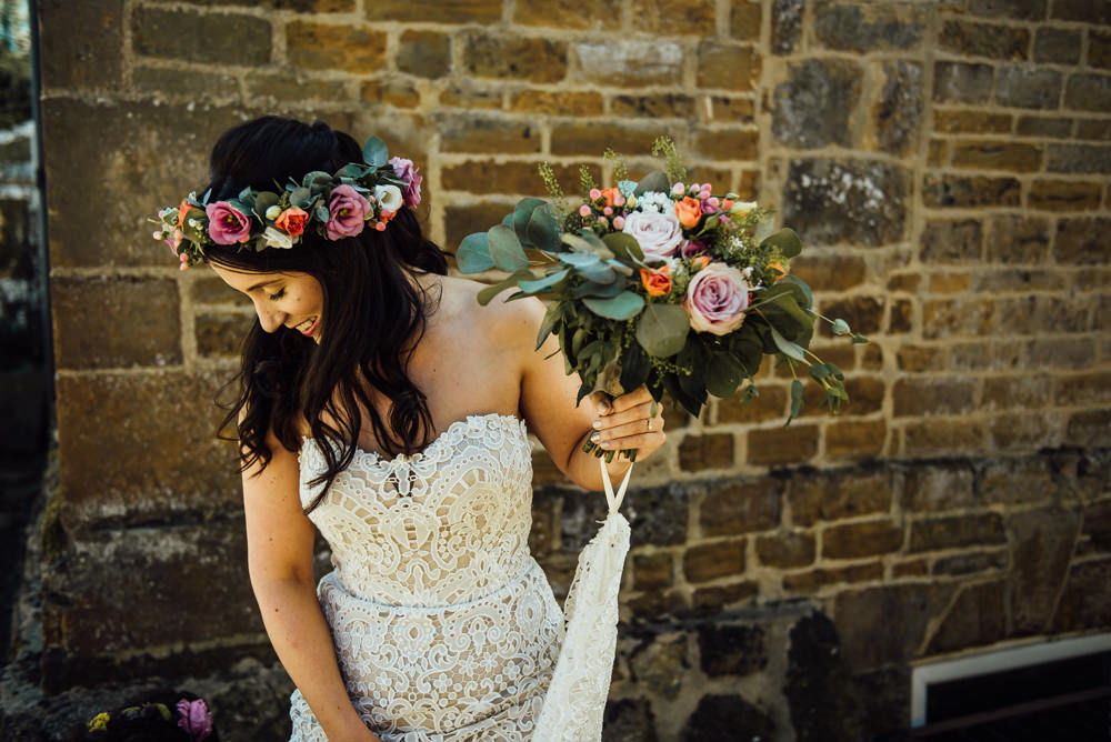 Bouquet Flowers Bride Bridal Pink Coral Rose Greenery Eucalyptus Flower Crown Long Furlong Farm Wedding Michelle Wood Photographer