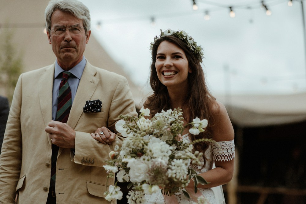 Bride Bridal Bouquet Flowers White Greenery Outdoor Wedding UK Olivia and Dan Photography