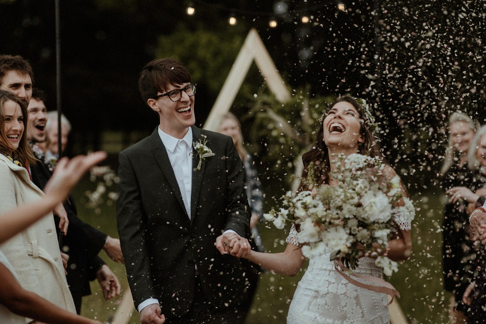 Confetti Throw Outdoor Wedding UK Olivia and Dan Photography