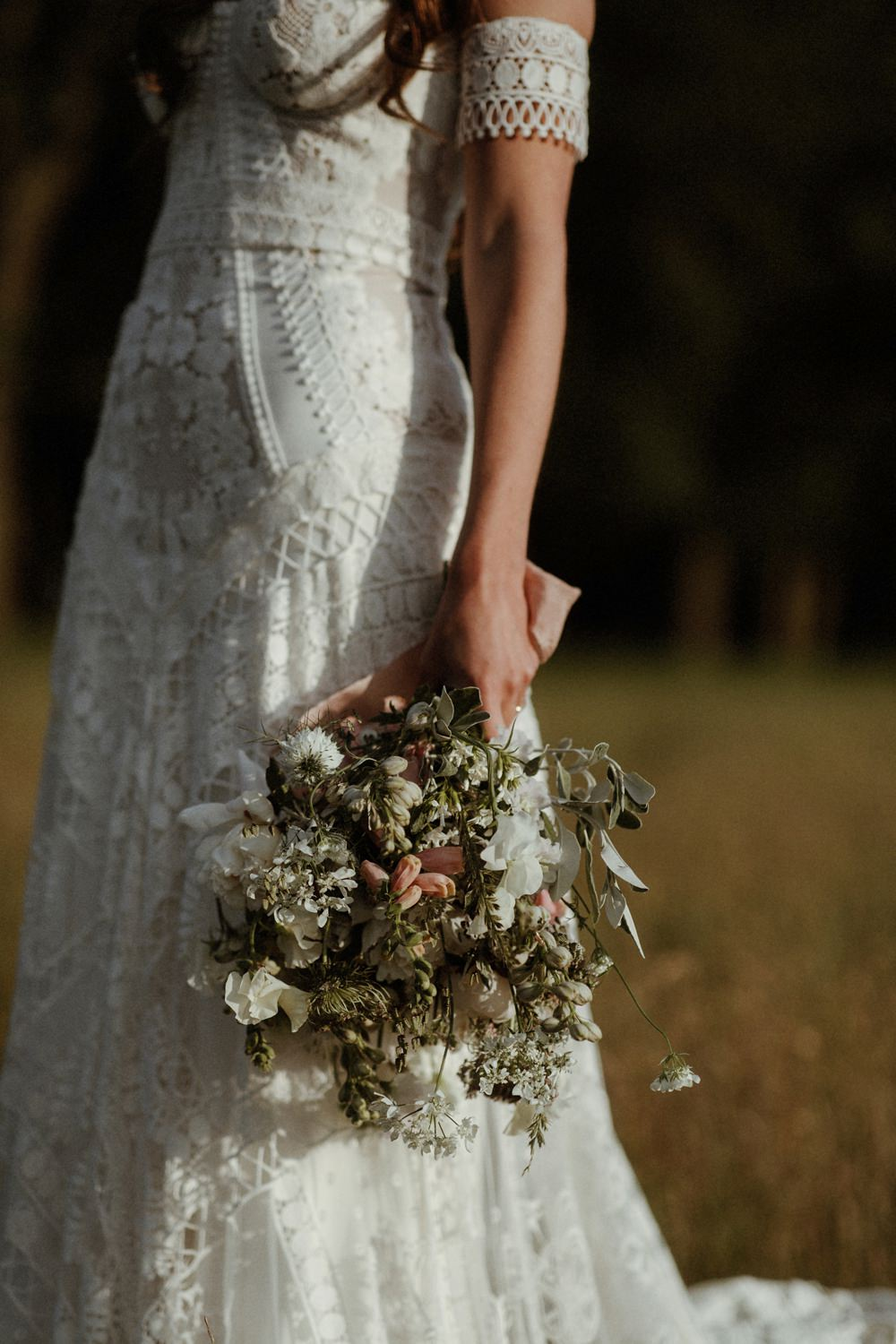Bride Bridal Bouquet Flowers White Greenery Pink Ribbon Outdoor Wedding UK Olivia and Dan Photography