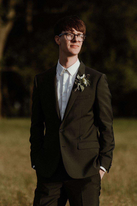 Groom Suit Shirt Collar Glasses Outdoor Wedding UK Olivia and Dan Photography