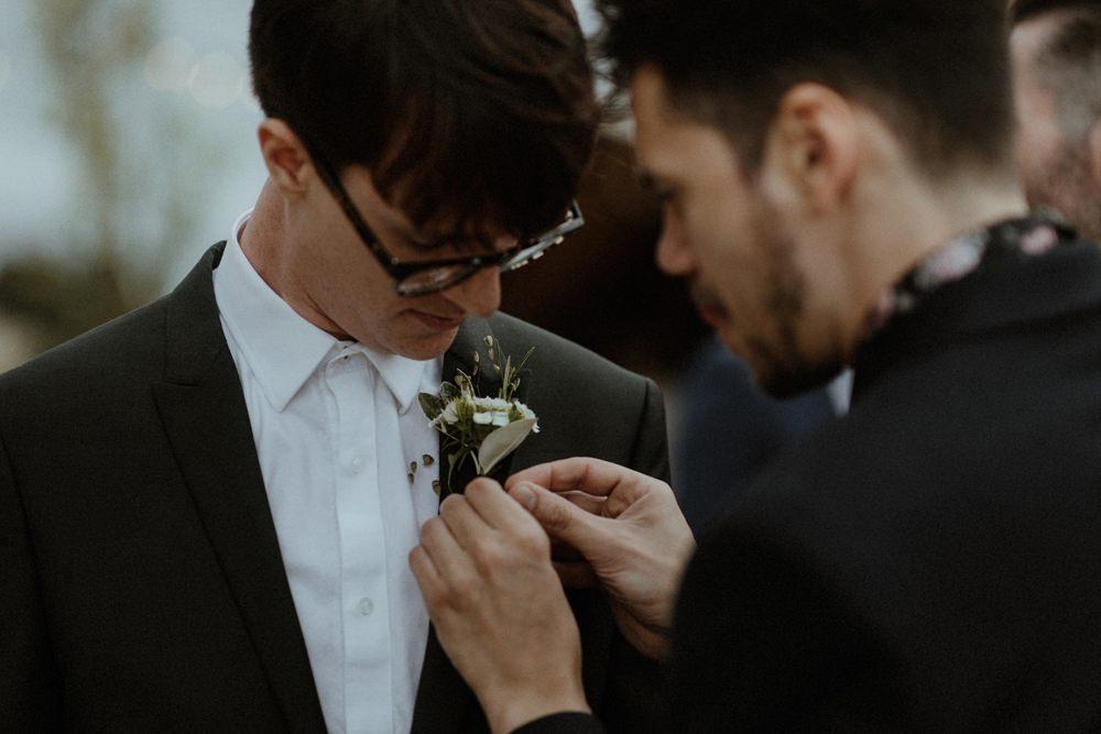 Buttonhole Flowers Groom Outdoor Wedding UK Olivia and Dan Photography