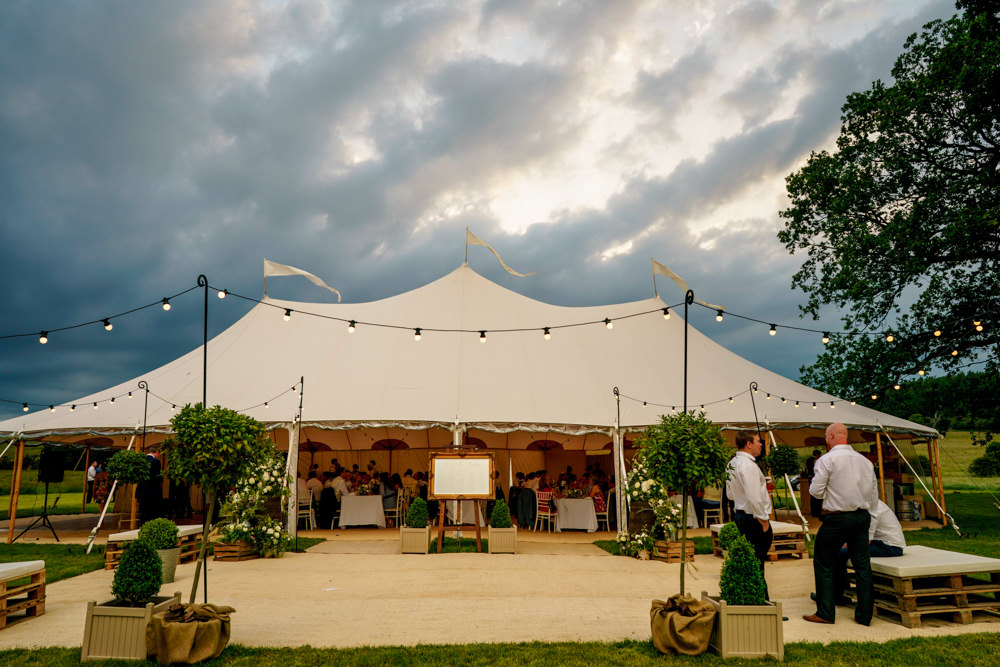 Pole Tent Marquee Clear Sides Festoon Lights Tent Park Farm Wedding Everybody Smile Photography