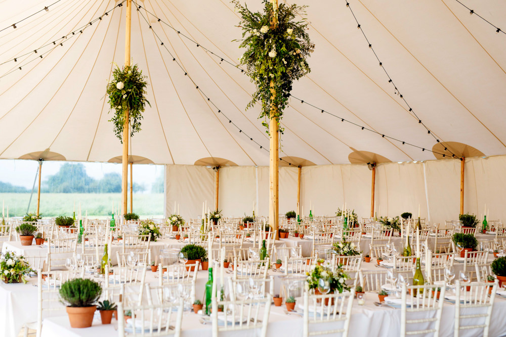 Pole Tent Marquee Clear Sides Festoon Lights Tent Greenery Foliage Park Farm Wedding Everybody Smile Photography