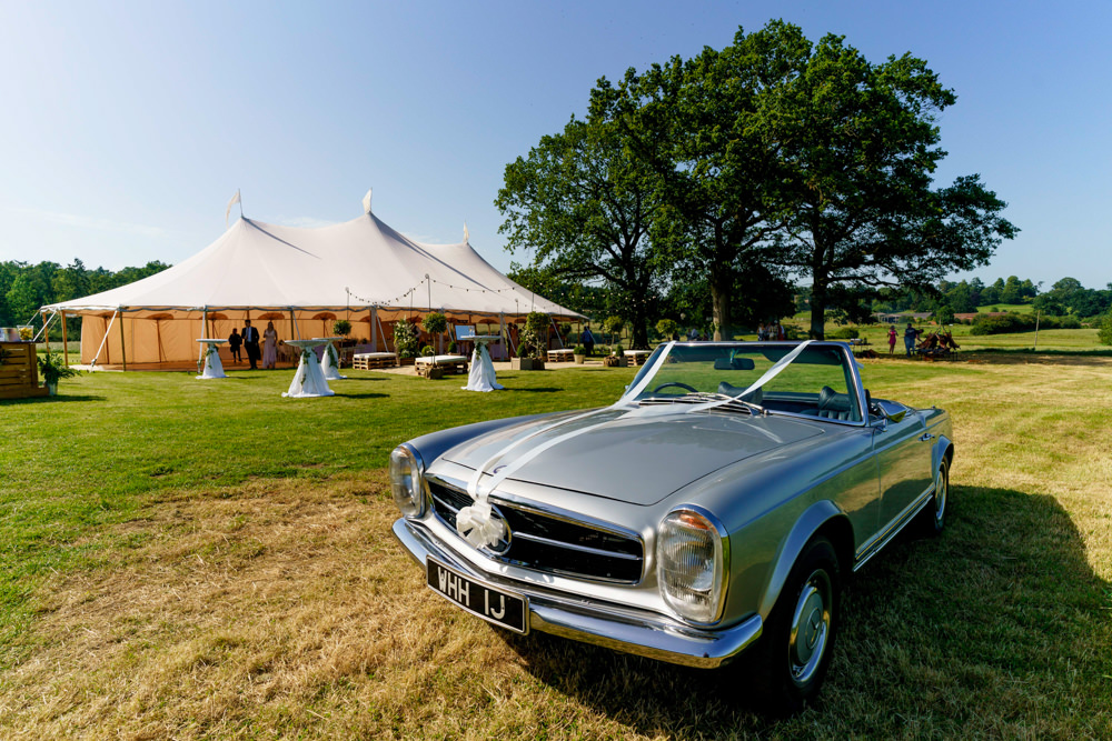 Pole Tent Marquee Clear Sides Festoon Lights Tent Classic Car Park Farm Wedding Everybody Smile Photography
