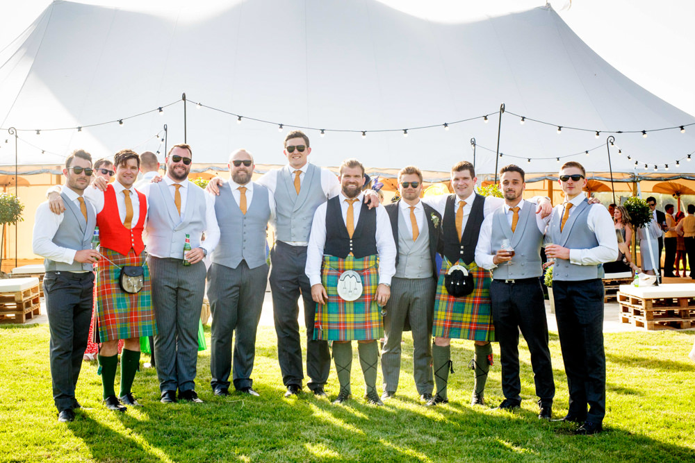 Groom Groomsmen Kilt Tartan Park Farm Wedding Everybody Smile Photography