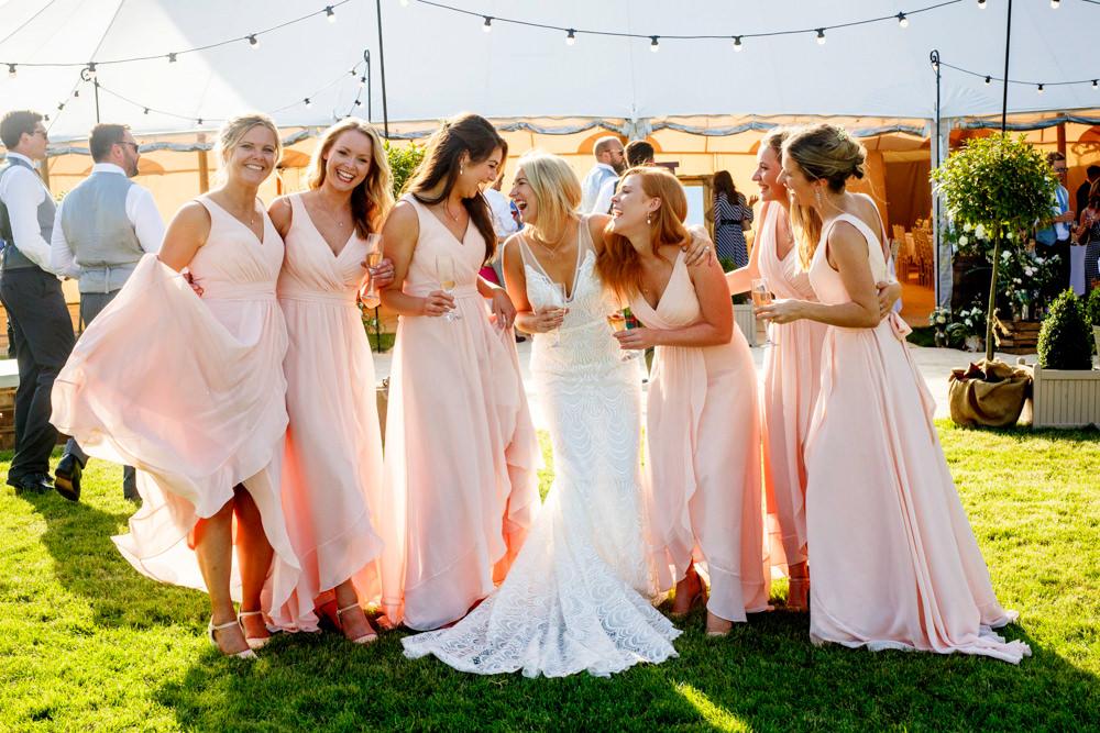 Bridesmaids Bridesmaid Dress Dresses Pale Pink Park Farm Wedding Everybody Smile Photography