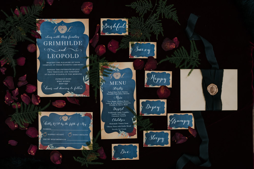 Stationery Invite Invitations Blue Gold Floral Calligraphy Snow White Wedding Inspiration Joasis Photography