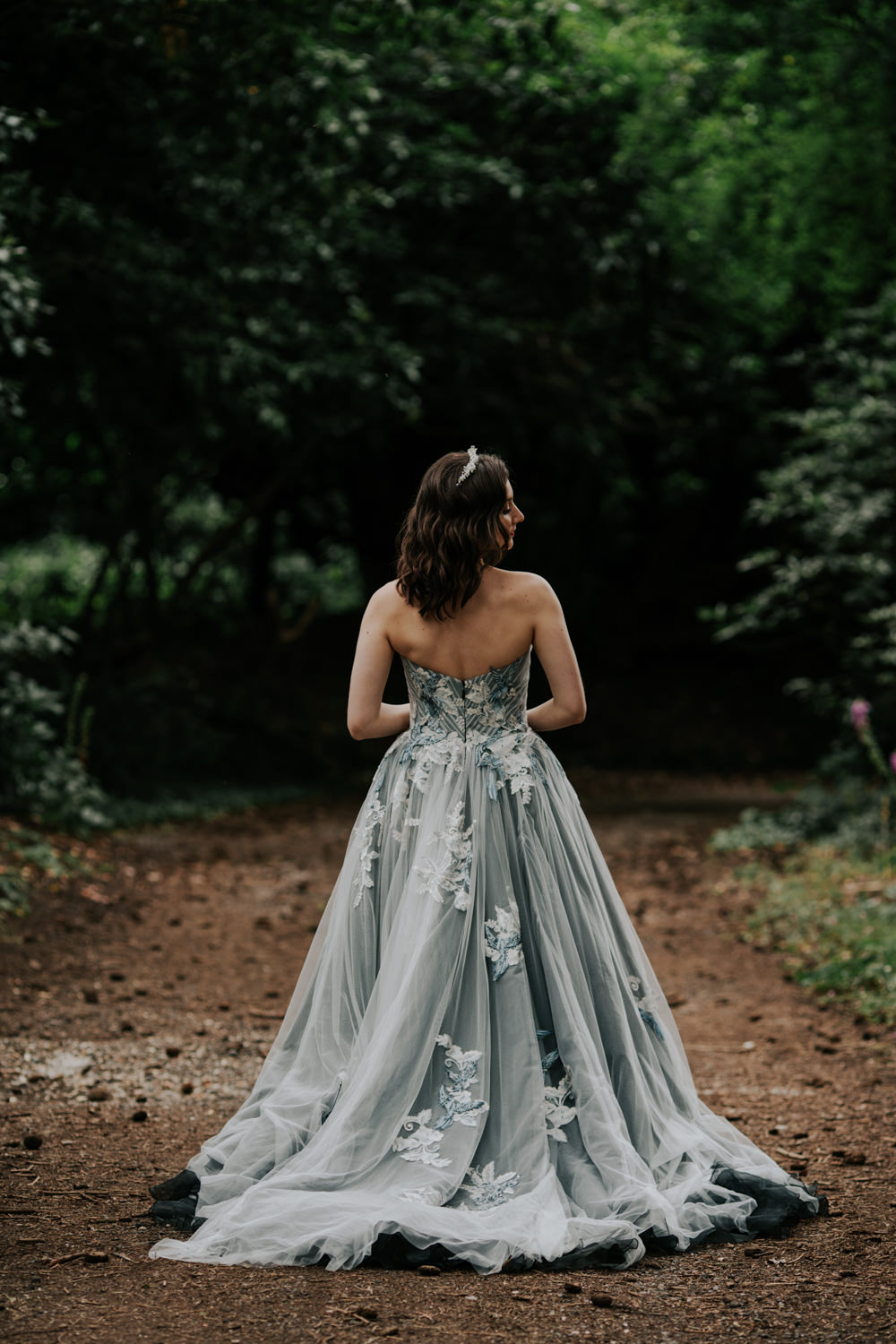 Dress Gown Bride Bridal Black Grey Tulle Strapless Snow White Wedding Inspiration Joasis Photography