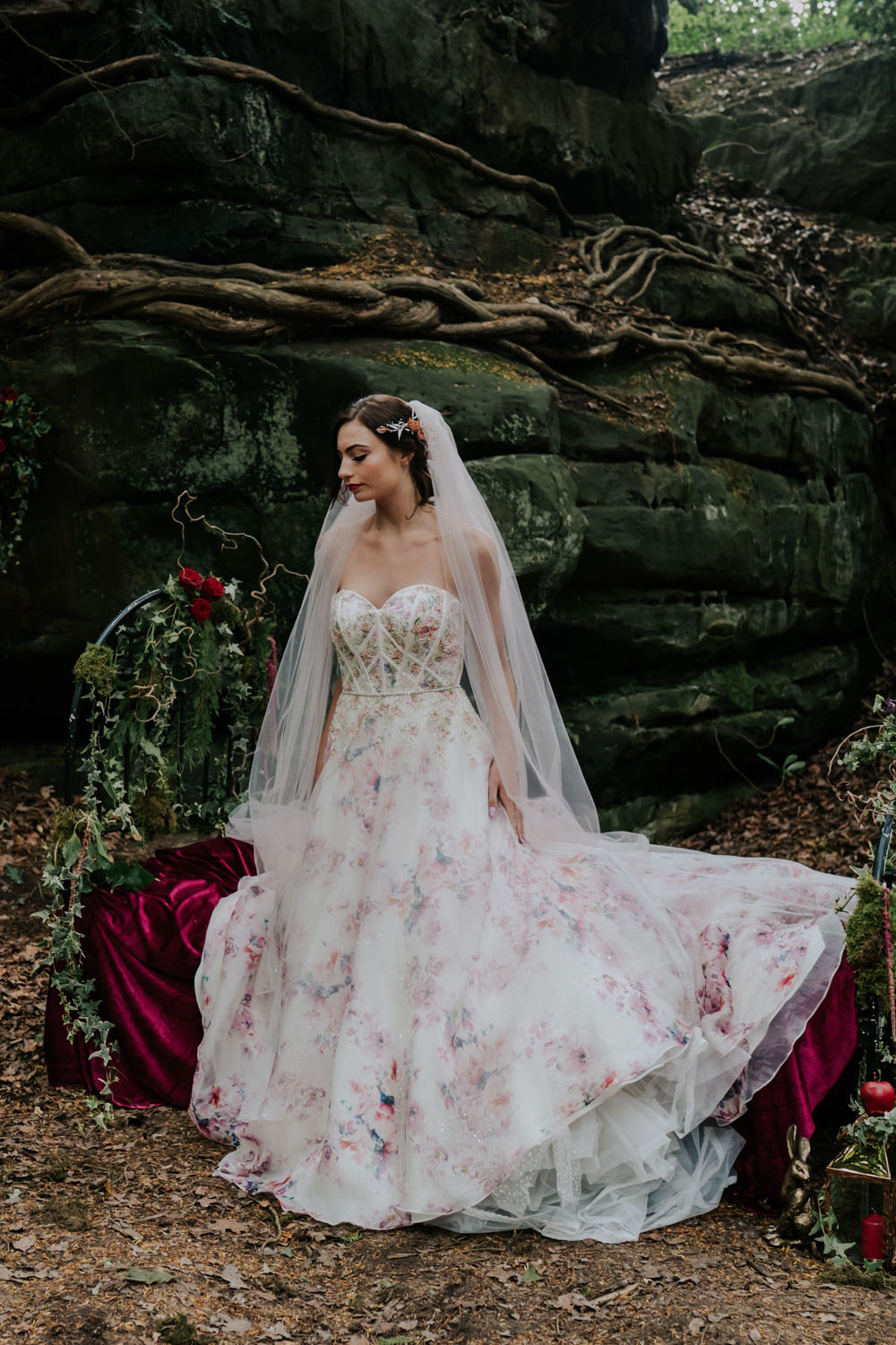 Dress Gown Bride Bridal Pink Floral Tulle Strapless Snow White Wedding Inspiration Joasis Photography