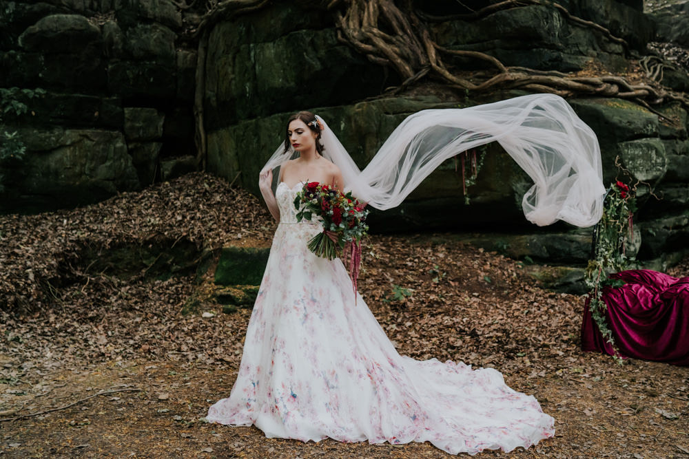 Dress Gown Bride Bridal Pink Floral Tulle Strapless Veil Snow White Wedding Inspiration Joasis Photography