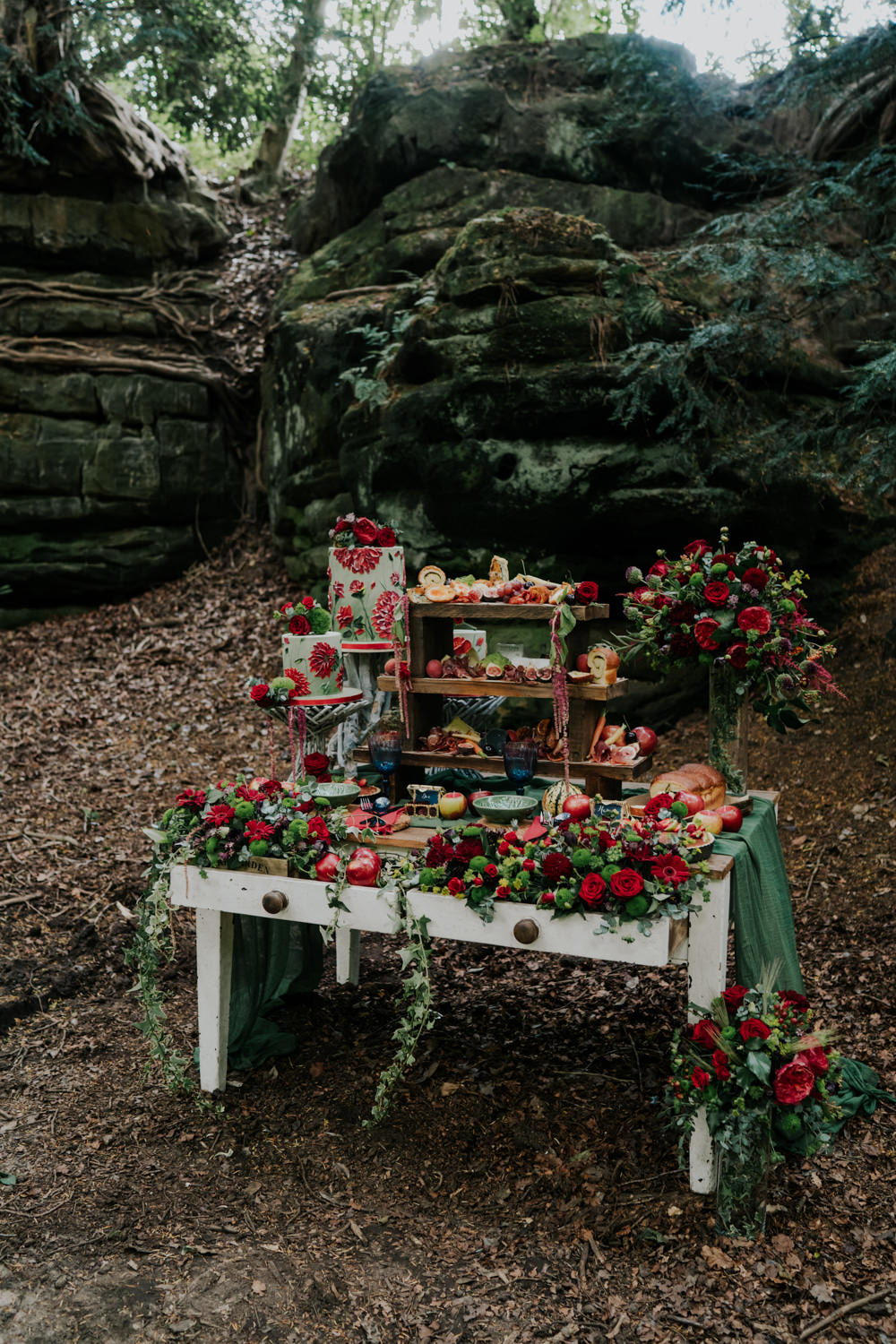 Grazing Table Food Stand Sharing Platter Flowers Opulent Vintage Dresser Cakes Snow White Wedding Inspiration Joasis Photography