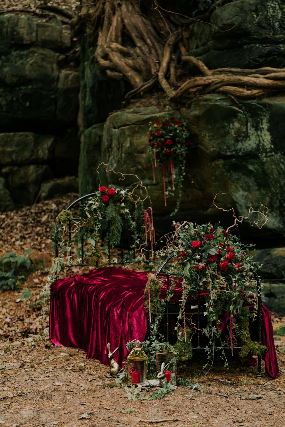Bed Flowers Floral Greenery Red Rose Ivy Amaranthus Snow White Wedding Inspiration Joasis Photography