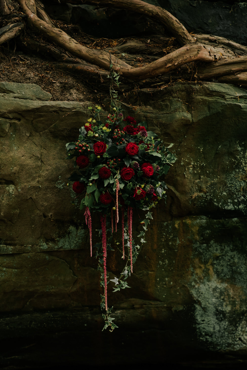 Hanging Suspended Flowers Floral Greenery Red Rose Ivy Amaranthus Snow White Wedding Inspiration Joasis Photography
